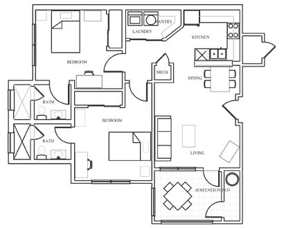 Small House Plans besides 2 Bedroom Apartment as well One Story Floor Plans With Basements also  additionally I Like Floor Plans. on 2 bedroom patio home floor plans