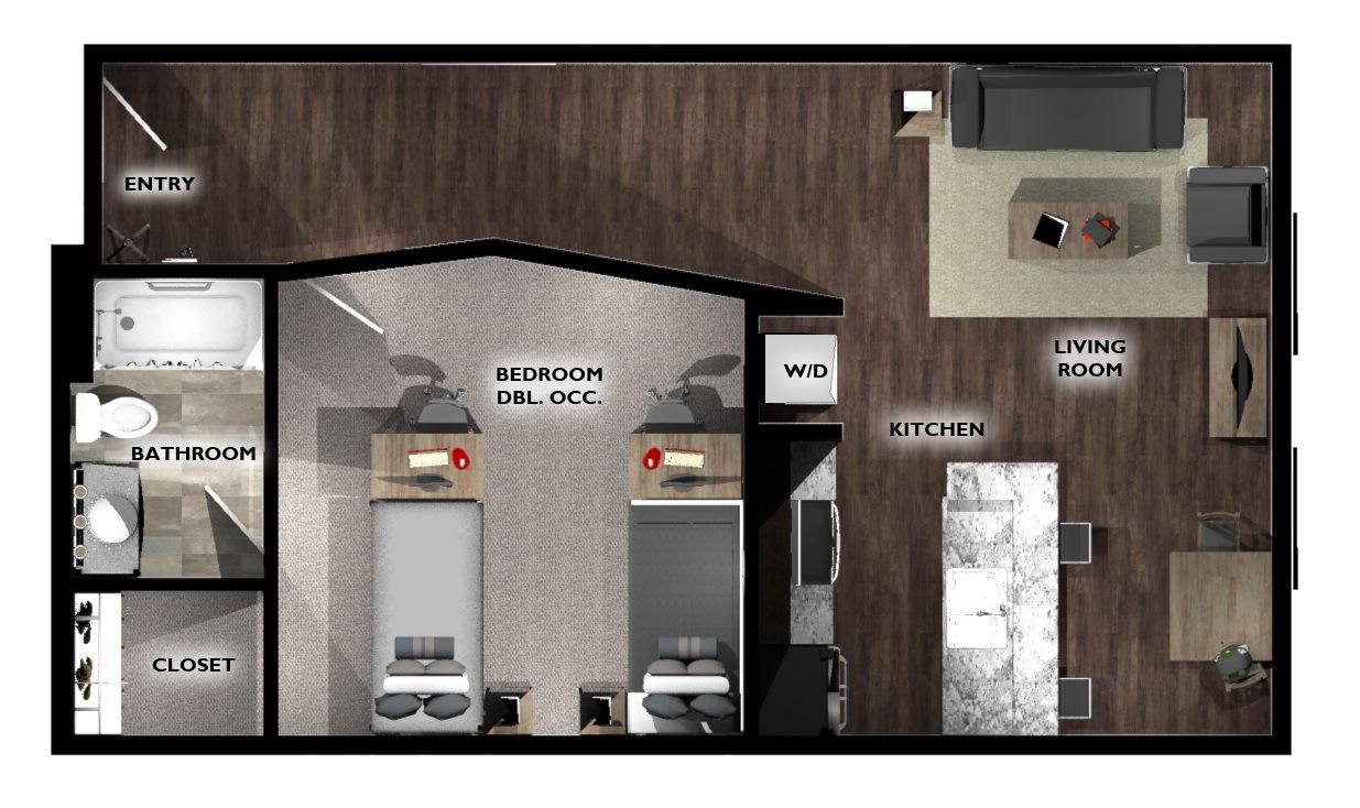 1 Bedroom 1 Bathroom Double Occupancy