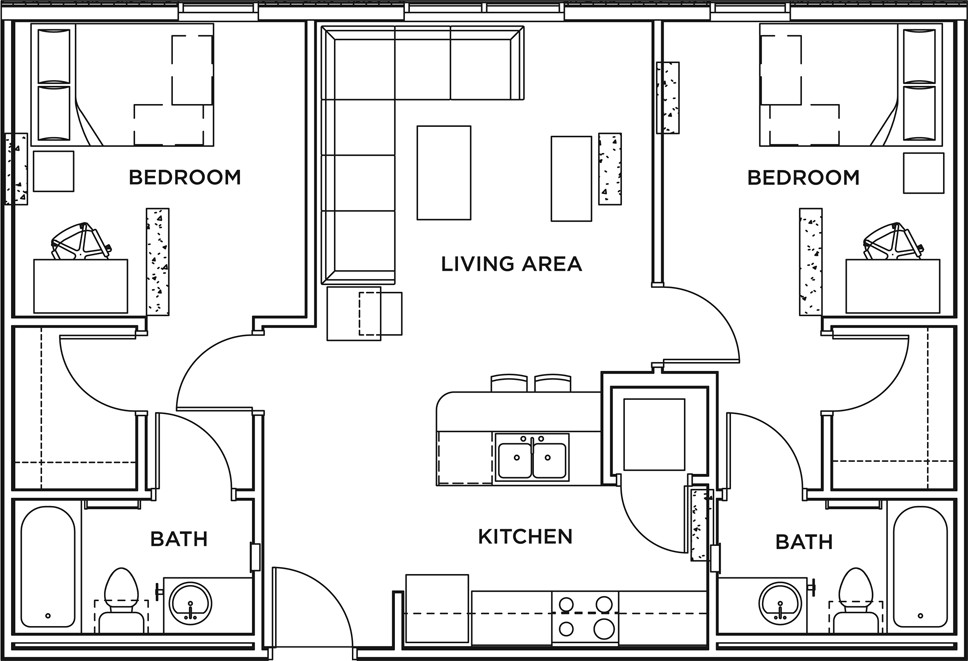 2 Bed + 2 Bath Apartment