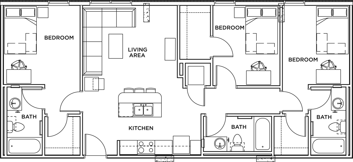 3 Bed + 3 Bath Apartment