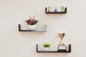 floating shelves holding plants and trophy