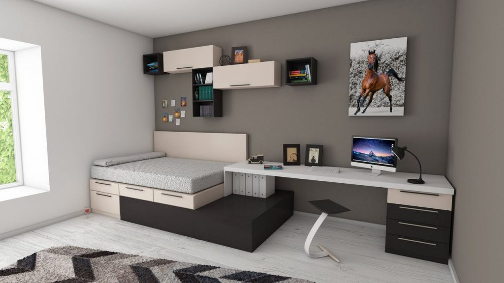 neatly organized room with floating shelves and bed frame with drawers