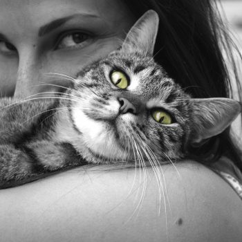 woman holding cat with green eyes black and white