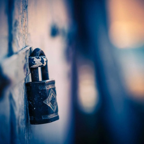 lock on door with blue background