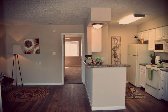 Open living area in our 1x1 floor plan featuring w