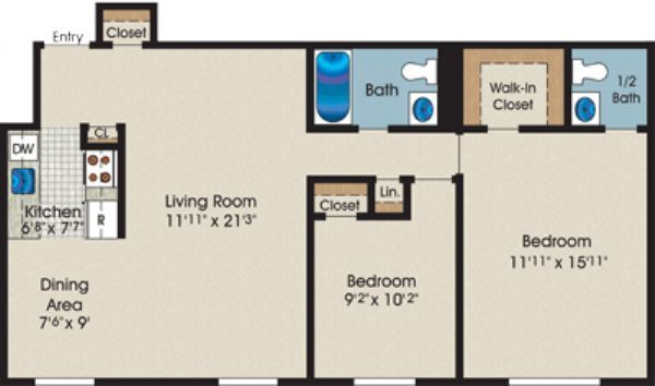 Two Bedroom One+Half Bath