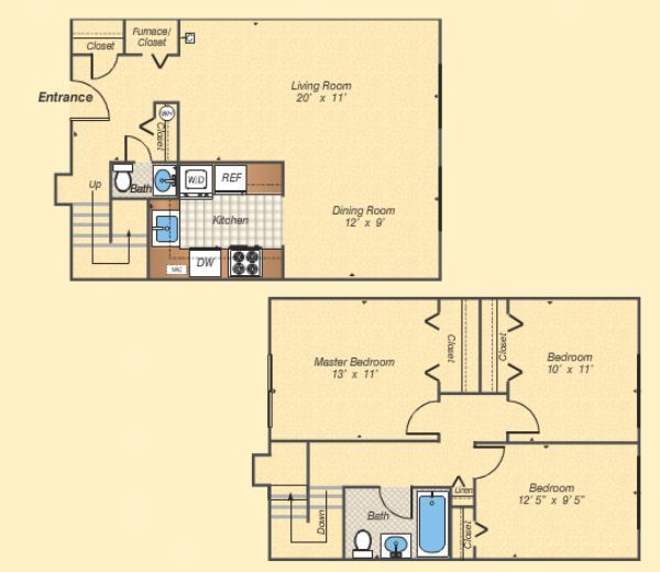 Copperfield square apartments in fairfax virginia for 3br 2ba floor plans