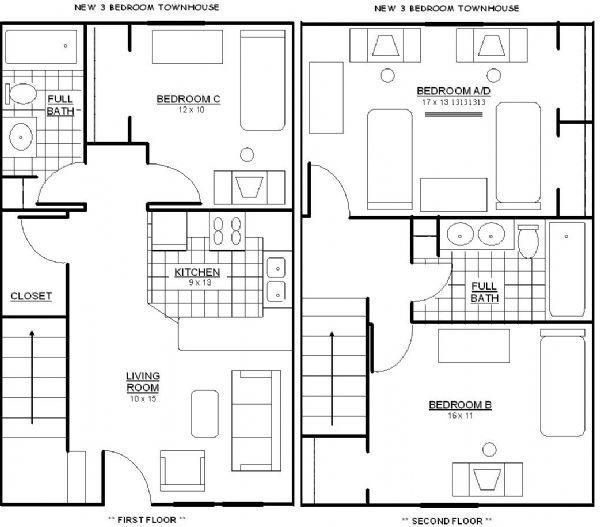 Bard townhouses apartments in shippensburg pennsylvania for 3br 2ba floor plans