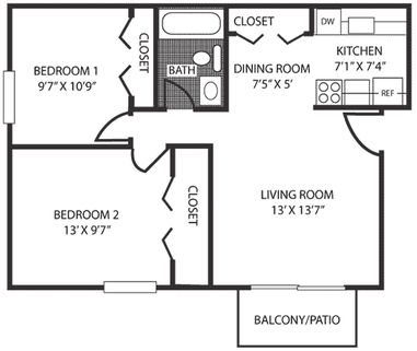 Aspen chase apartments in ypsilanti michigan for Floor plans 700 square foot apartment