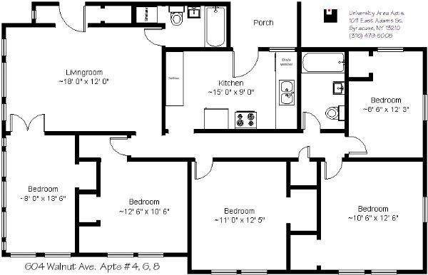 University Area Apts apartments in Syracuse New York – Syracuse University Housing Floor Plans