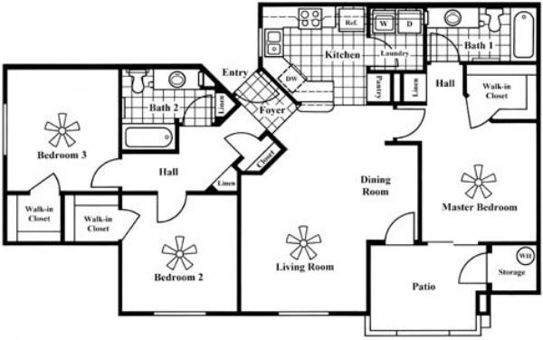 San portella apartments in tempe arizona for 3br 2ba floor plans