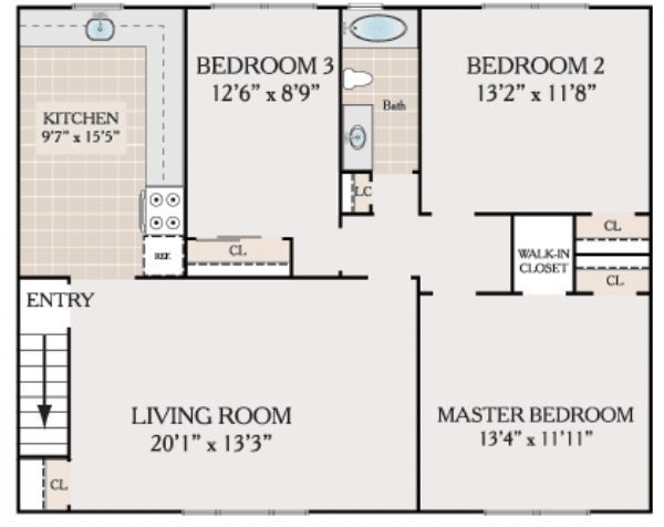 Country club apartments in eatontown new jersey for 3br 2ba floor plans