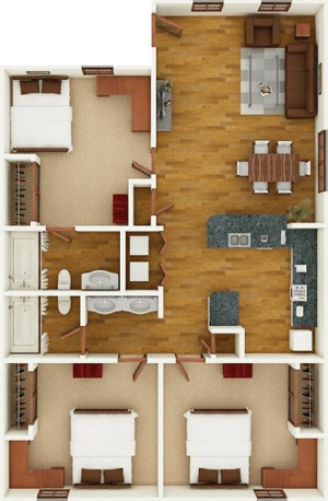 3 Bedroom, 2 Bathroom
