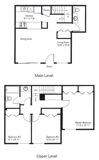three bedroom one and a half bath 1067 sq ft 765