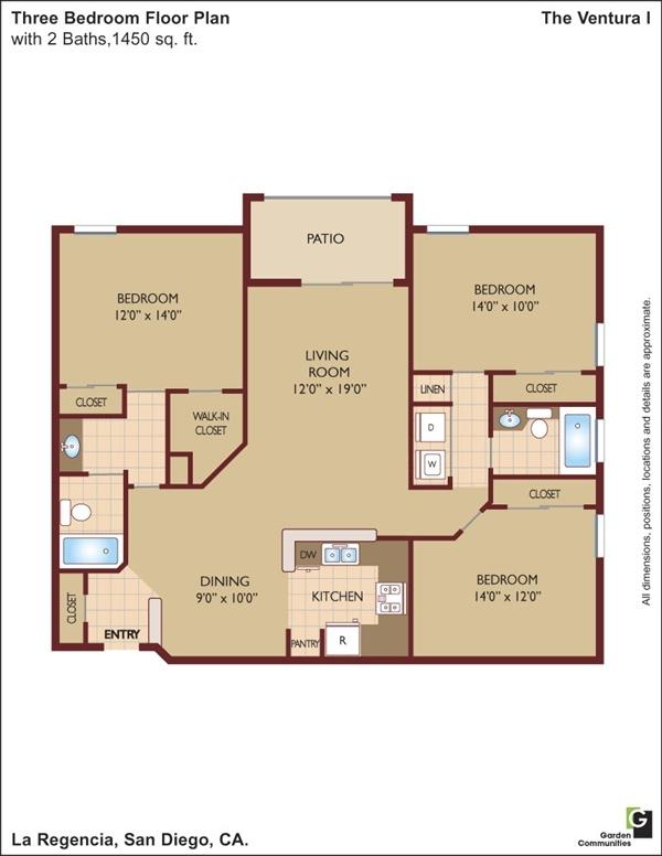 La regencia apartments in san diego california for 3br 2ba floor plans