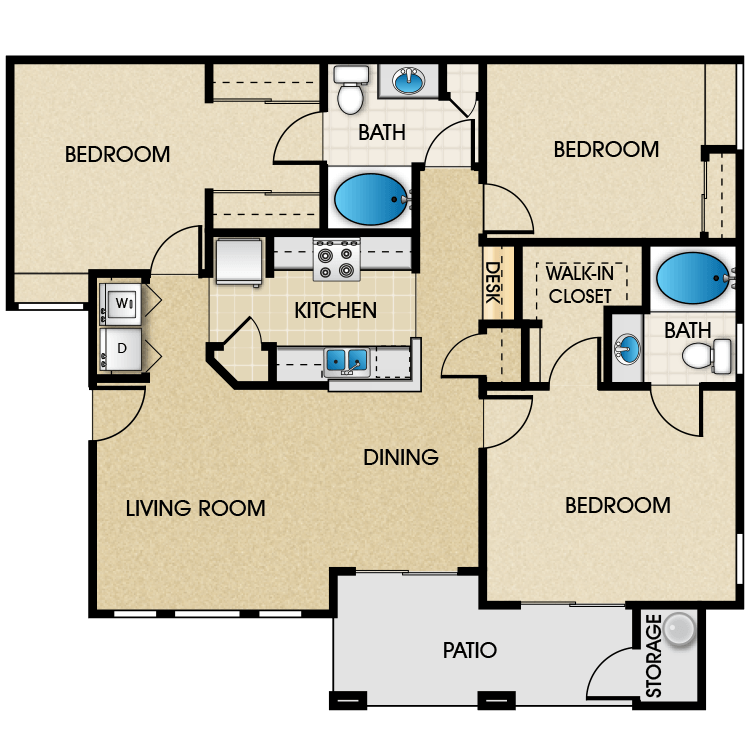 Aliante apartments in scottsdale arizona for 3br 2ba floor plans