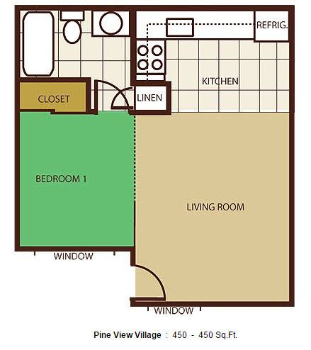 Pine view village apartments in flagstaff arizona for 450 square foot apartment floor plan
