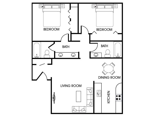 Aspen leaf apartments in flagstaff arizona for Two bedroom two bath apartment floor plans