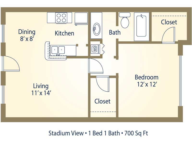 Stadium view apartments in college station texas for 700 sq ft apartment design
