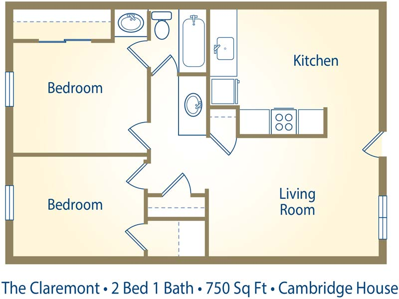 Cambridge house apartments in davis california for 750 sq ft floor plan
