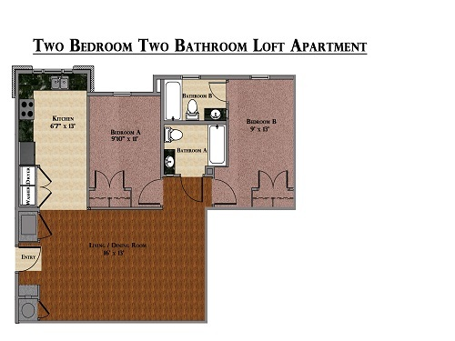 2 Bed / 2 Bath Apartment