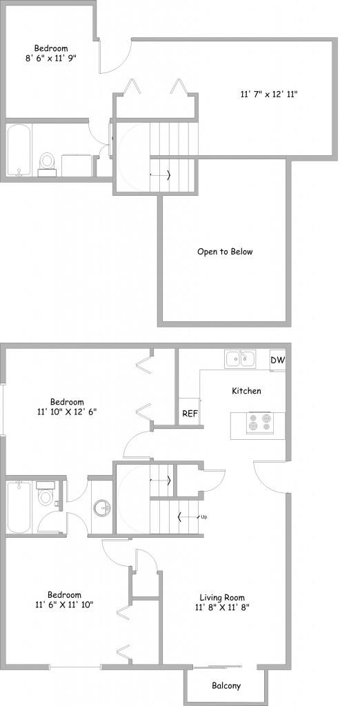 College park apartments in lincoln nebraska for 3br 2ba floor plans