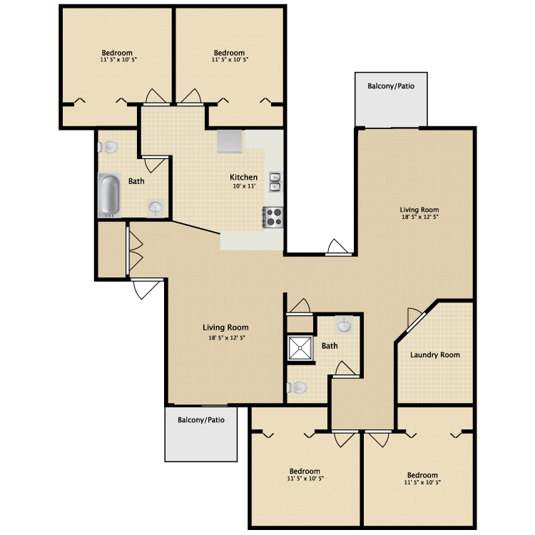 Greenbriar apartments in kalamazoo michigan for Floor plans jackson ms