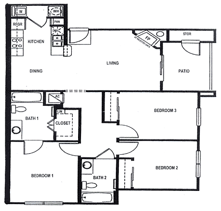 The villas of parkhaven apartments in sherman texas for 3br 2ba floor plans