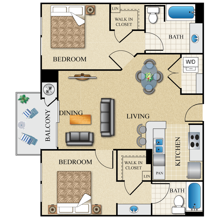 The orsini apartments in los angeles california for 900 sq ft apartment floor plan