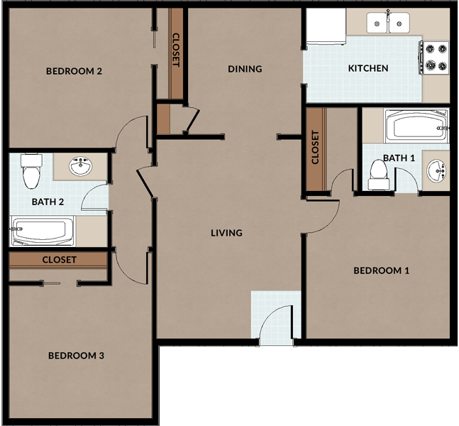 University commons apartments in edinburg texas for 3br 2ba floor plans
