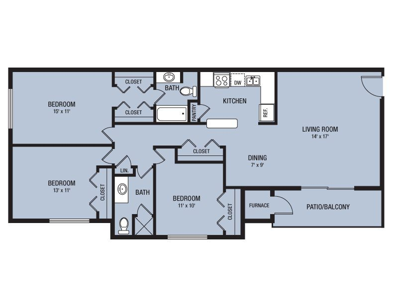 Willowbrook lake apartments in indianapolis indiana for 3br 2ba floor plans
