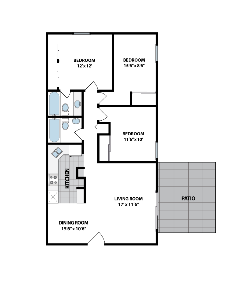 Brookwood apartments in indianapolis indiana for 3br 2ba floor plans