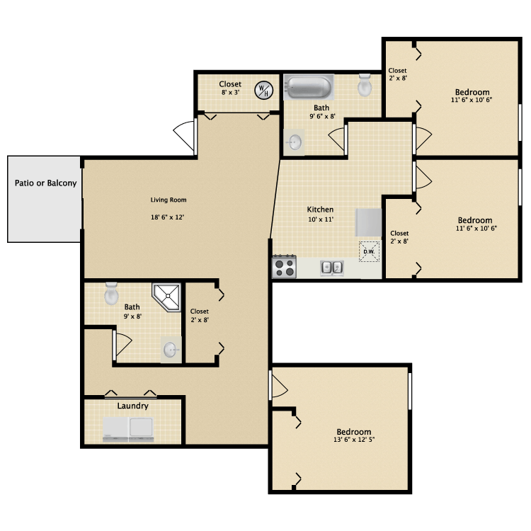 Greenbriar apartments in kalamazoo michigan for 3br 2ba floor plans
