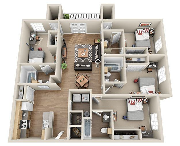 4br 4ba 1695 sq ft 585 - 4 Bedroom Apartments